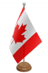 Canada Desk / Table Flag with wooden stand and base